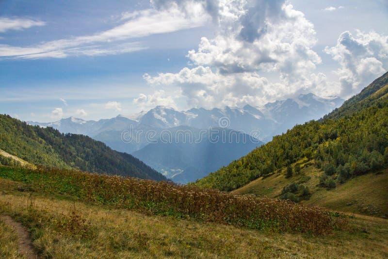 Landscape on the georgian hills stock photo