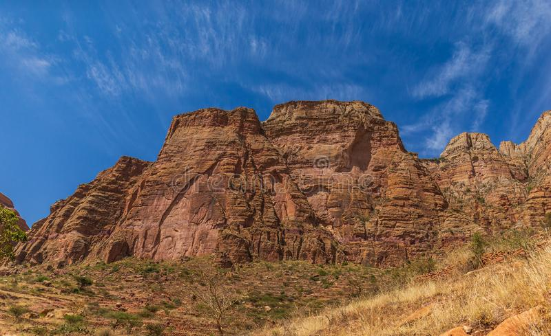 Landscape in Gheralta in Tigray, Northern Ethiopia. Home of the famous rock hewn churches of Northern Ethiopia stock photo