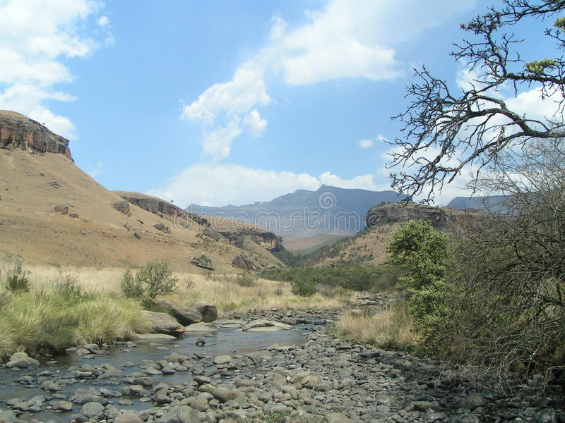 Landscape at Giants castle in the Drakensberg mountains royalty free stock photo