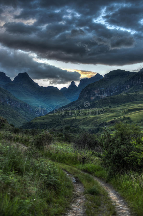 Landscape of Giants Castle Game Reserve. Dramatic views of the hills of the Drakensberg Range in the Giants Castle Game Reserve, KwaZulu-Natal, South Africa stock photo