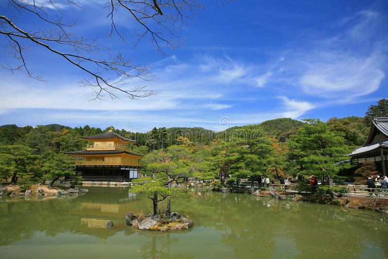 Landscape of Golden Pavilion temple, Kinkakuji