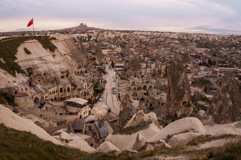 Landscape of Goreme sunset view point . Cappadocia. Nevsehir Province. Turkey royalty free stock photography