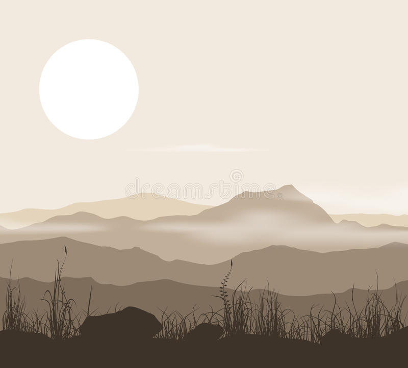 Landscape with grass and mountains over sunset. stock illustration