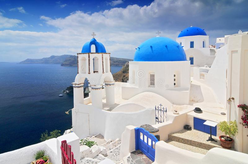 Landscape with greek white church overlooking the sea, Oia Town, Santorini Island, Greece stock images