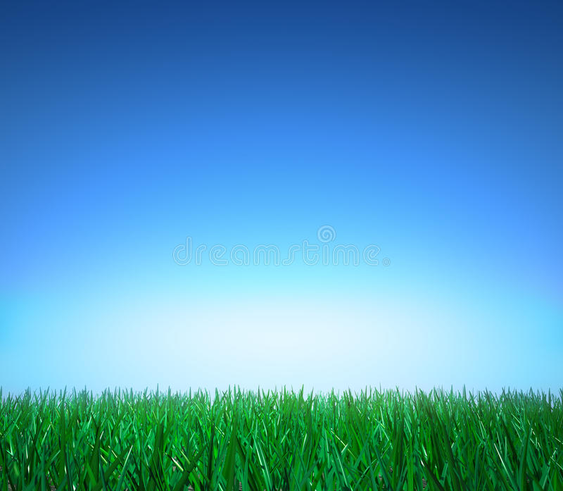 Landscape: green grass, clear blue sky royalty free illustration