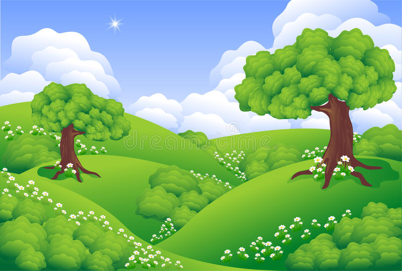 Landscape Green Hills. With trees, flowers, clouds stock illustration