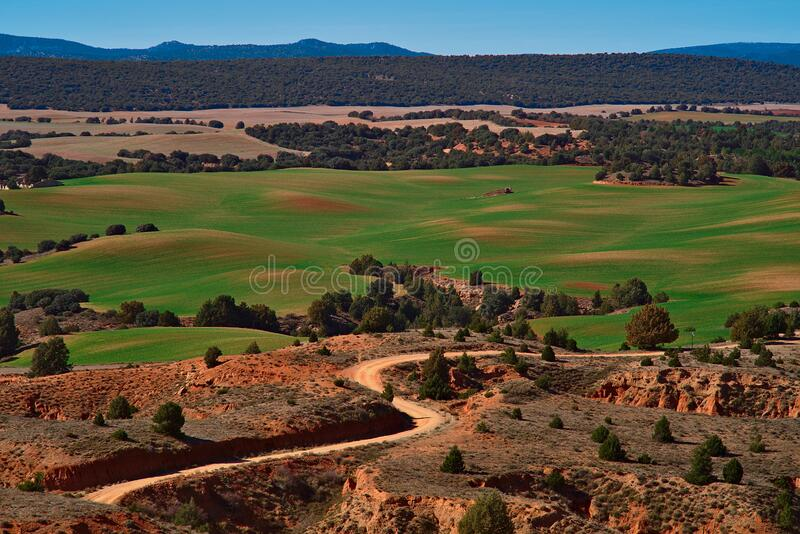Landscape of green meadows and path through arid terrain stock photo