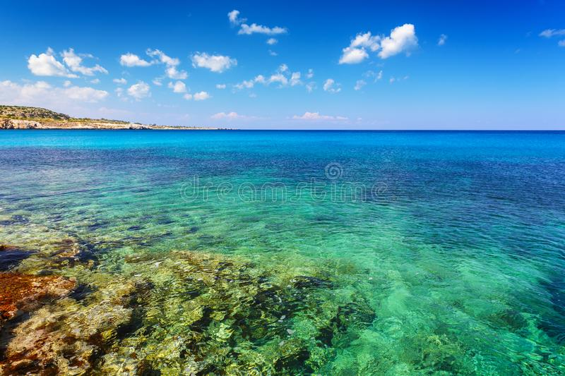 Landscape with green sea and blue sky. Summer landscape with green sea and blue sky stock photos