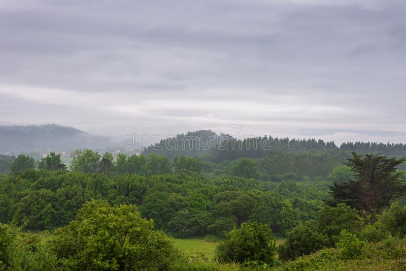 Landscape with green valley haze i. N Cantabria, Spain, Europe stock photo
