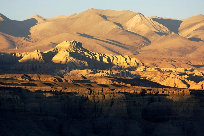 Landscape of Guge. Guge was an ancient kingdom in Western Tibet. The kingdom was centered in present-day Zanda County, Ngari Prefecture, Tibet Autonomous Region stock photography