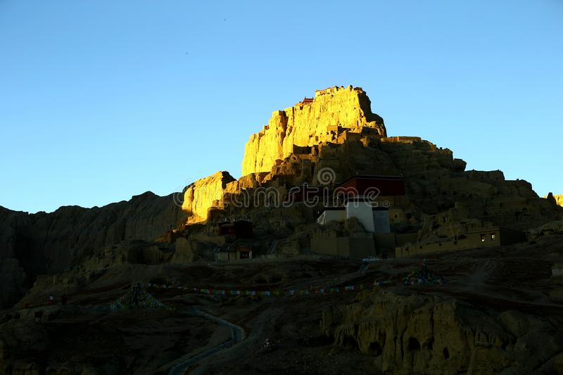 Landscape of Guge. Guge was an ancient kingdom in Western Tibet. The kingdom was centered in present-day Zanda County, Ngari Prefecture, Tibet Autonomous Region stock images