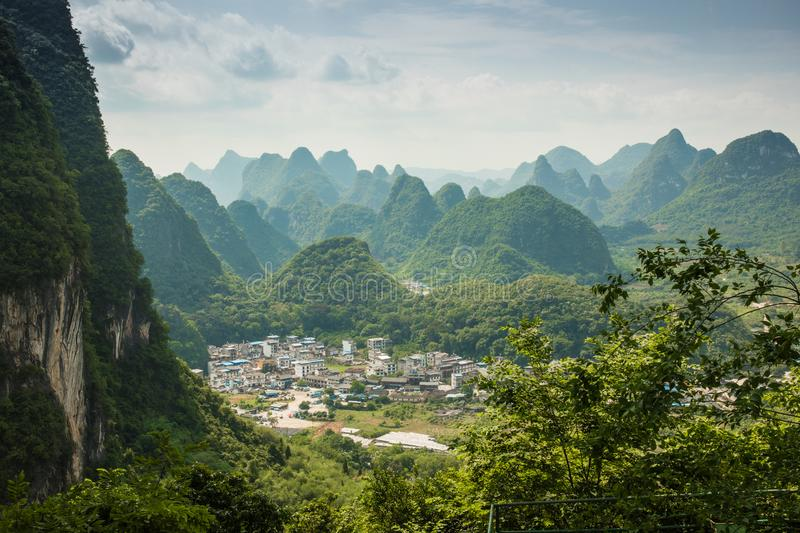 Landscape of Guilin, Karst mountains. Located near Yangshuo, Gui. Lin, Guangxi, China royalty free stock photo