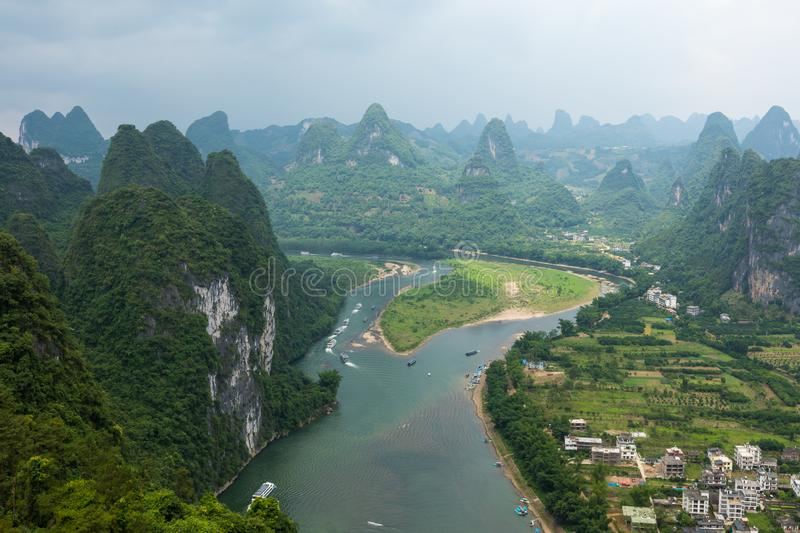 Landscape of Guilin, Li River and Karst mountains. Located near. The Ancient Town of Xingping, Yangshuo, Guilin, Guangxi, China royalty free stock photos