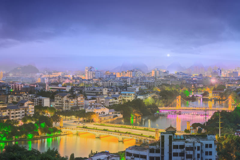 Landscape of Guilin, Li River and Karst mountains. Located near Yangshuo County, Guangxi Province, China.  stock image