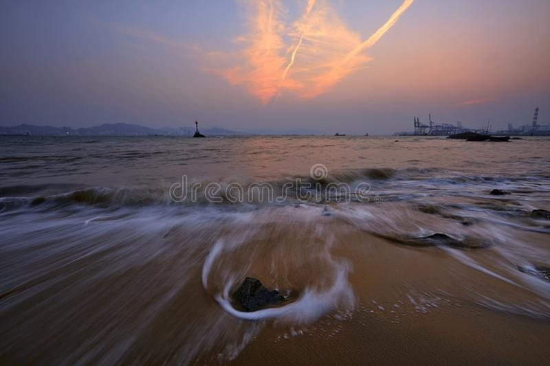 Gulangyu coast beach, Xiamen. Sunset seascape in Gulangyu, Xiamen, Fujian, China royalty free stock image