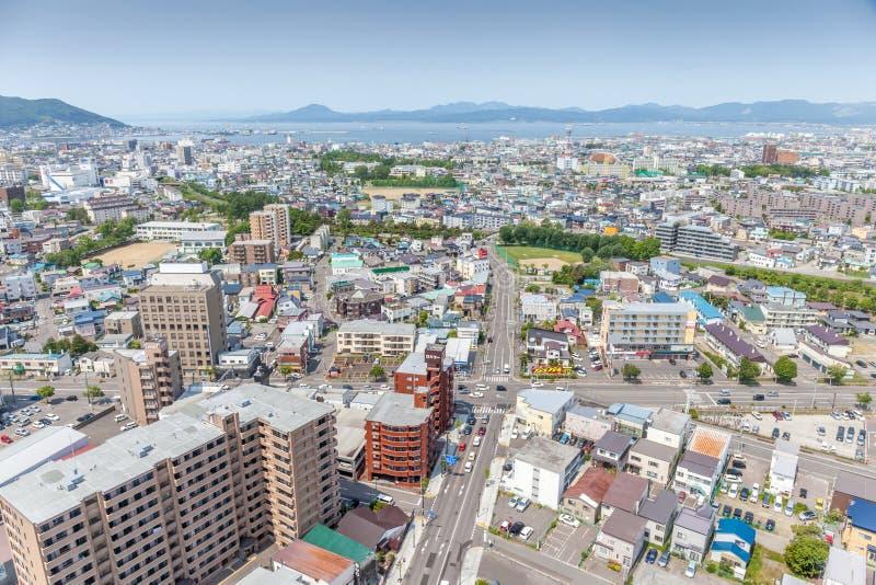 Landscape Hakodate city from Goryokaku tower. stock photos