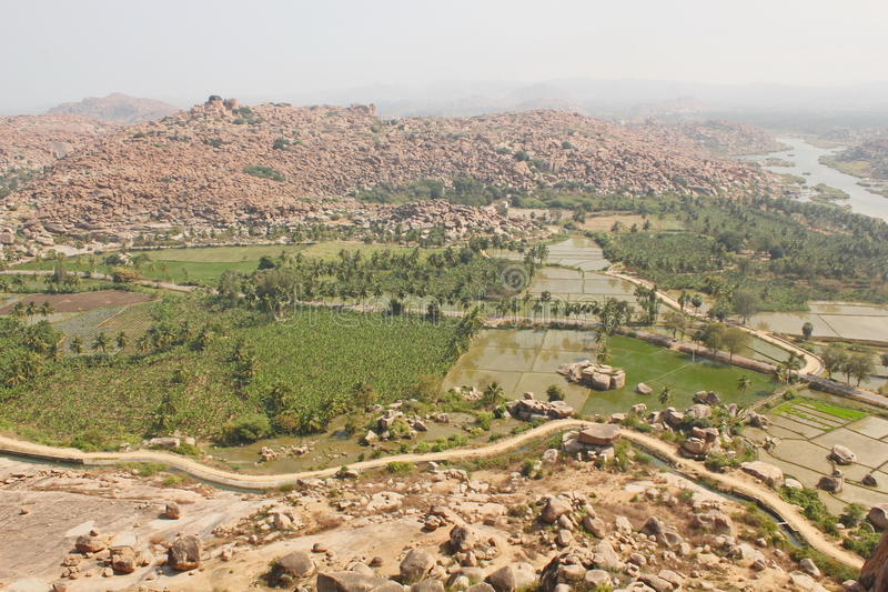 Landscape in Hampi, India stock photography