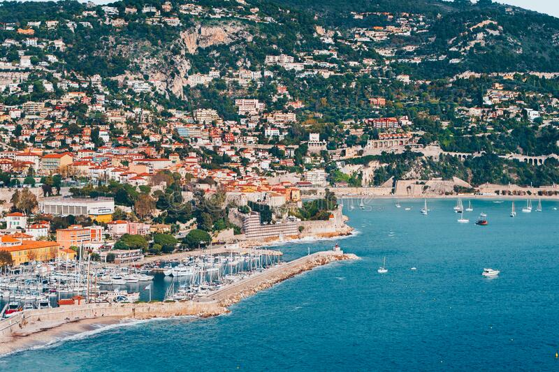 Landscape of harbor, port in Nice. Cote d`Azur France. Luxury resort of French riviera. scenery panoramic aerial cityscape view o. F Nice, France. azure water royalty free stock photos
