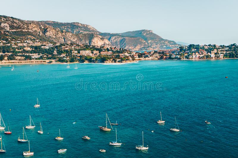 Landscape of harbor, port in Nice. Cote d`Azur France. Luxury resort of French riviera. scenery panoramic aerial cityscape view. Of Nice, France. azure water stock photo