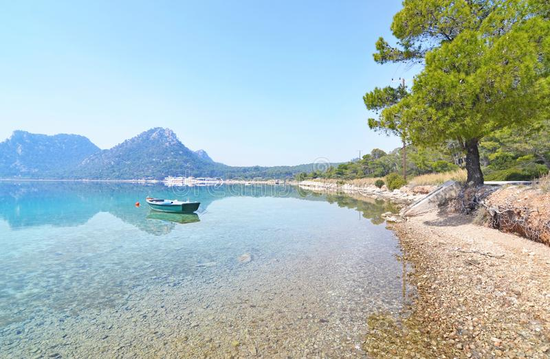 Landscape of Heraion lake Loutraki Greece stock photo