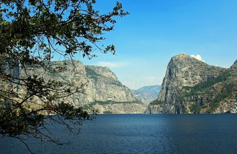 Landscape of Hetch hetchy Reservoir, Yosemite National Park. The beautiful and fabulous natural landscape of the Hetch hetchy Reservoir area of Yosemite National royalty free stock photo