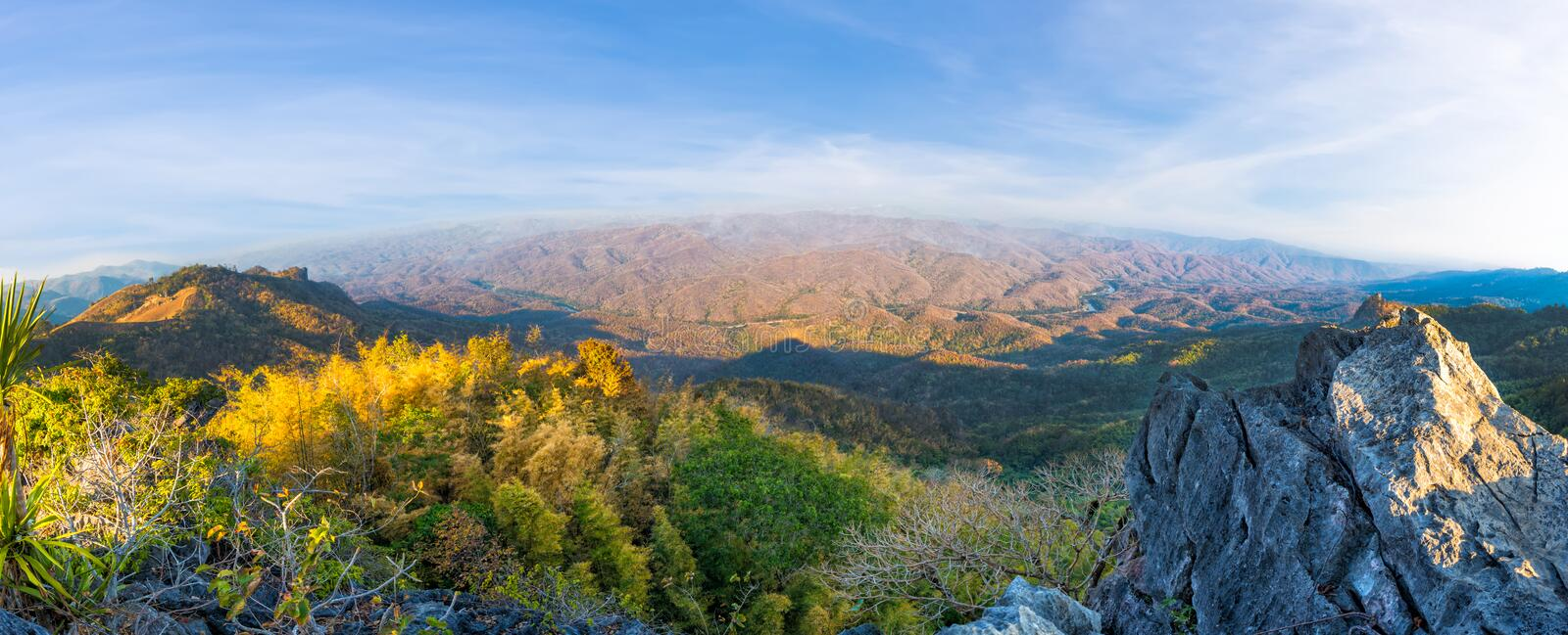 Landscape of high mountain with blue sky royalty free stock photos