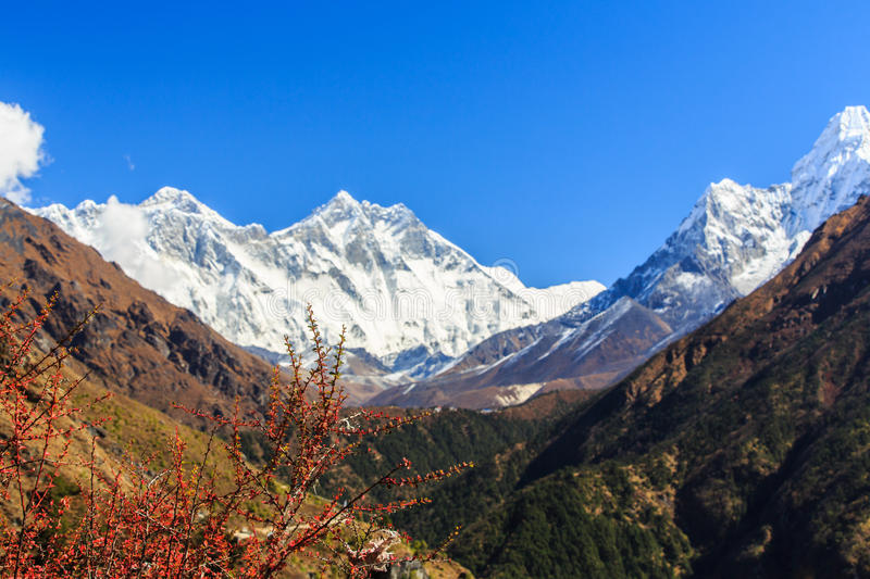 Landscape with high mountains in Himalaya stock images