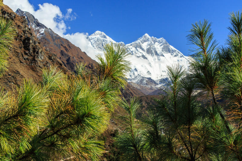 Landscape with high mountains in Himalaya stock image