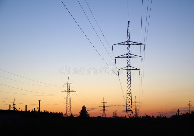 Landscape With High-voltage Line Royalty Free Stock Photo
