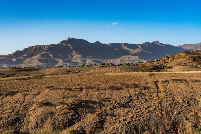 Landscape in the highlands of Lalibela, Ethiopia stock photography