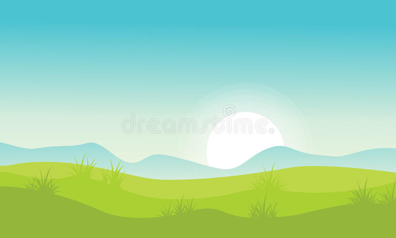 Landscape with hill at morning. Beckground vector stock illustration