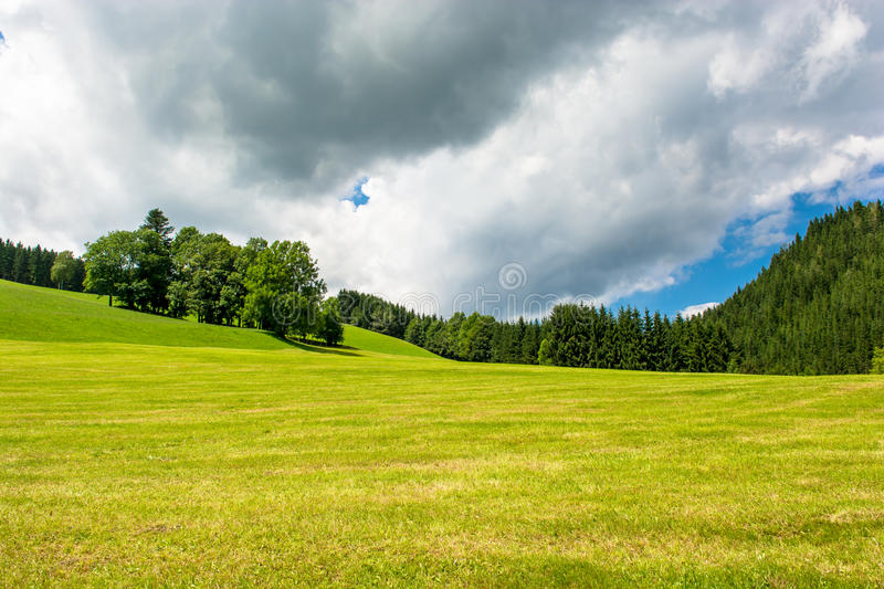 Landscape with hills in Austria stock photos
