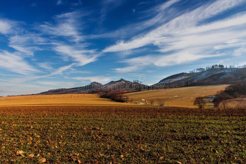 Landscape with hills and fields near Podhradni Lhota, Czech republic. Picturesque landscape panorama with hills and fields near Podhradni Lhota Moravia, Czech stock image