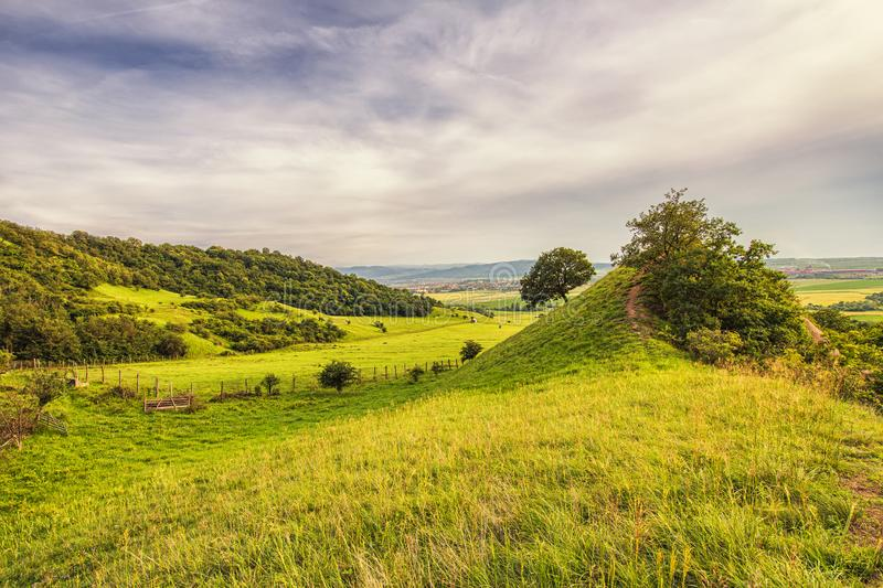 Landscape with hills, forest, grass and beautiful blue sky stock photo