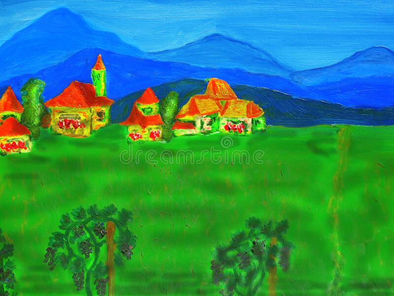 Landscape with hills, houses and green field, painting royalty free stock images