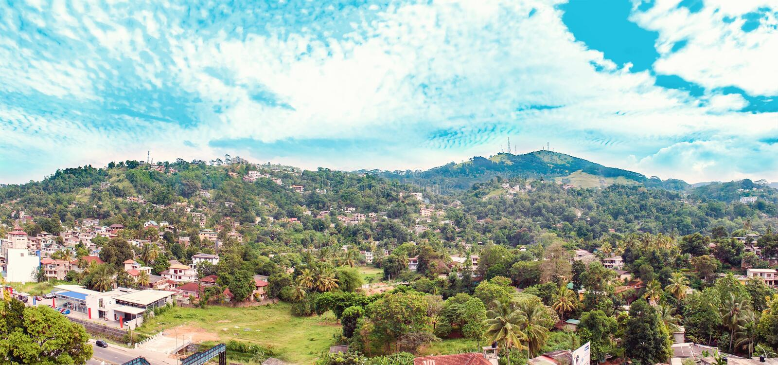 Landscape with hills and town in Sri Lanka. In winter stock photo