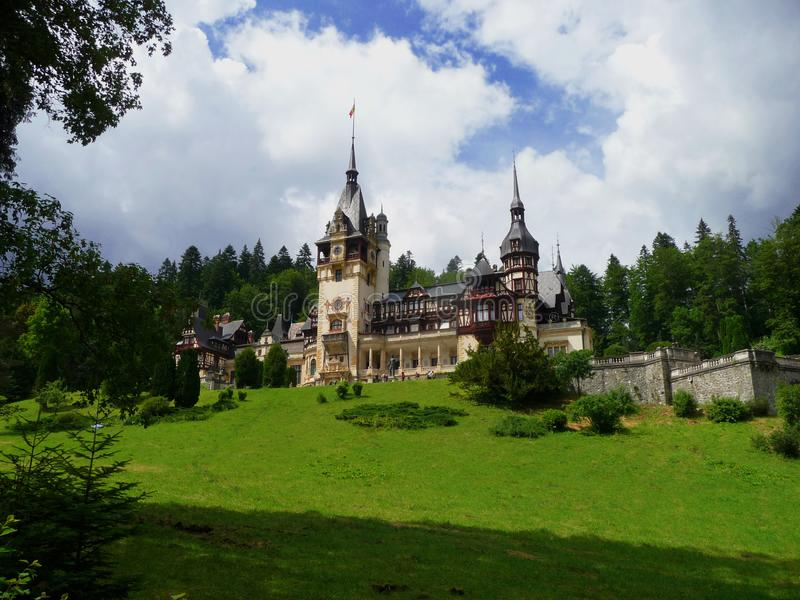 Castle of Peles. Sinaia. Romania. Landscape with the historic Casttle of Peles. Sinaia. Romania. Europe royalty free stock photography