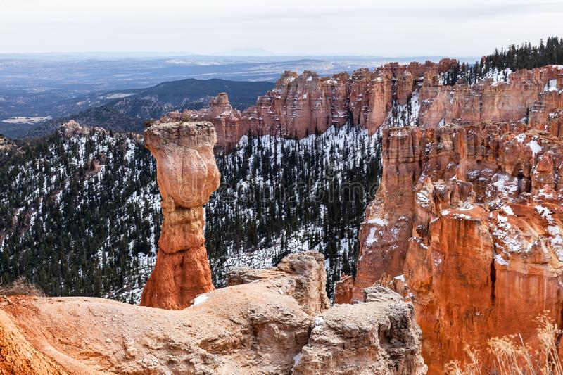 Landscape And Hoodoo Rock Called The Hunter In Bryce Canyon royalty free stock photography
