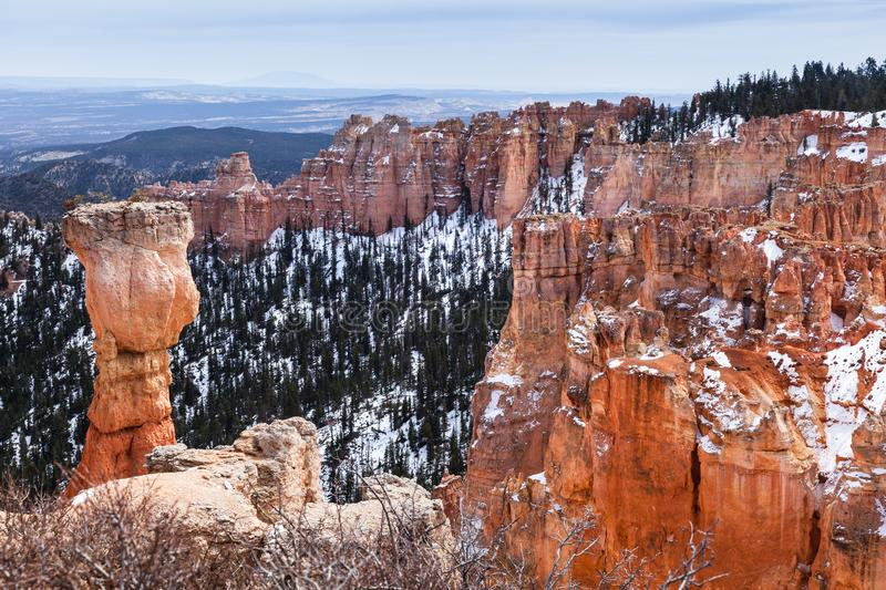 Landscape And Hoodoo Rock Called The Hunter In Bryce Canyon, Utah stock images