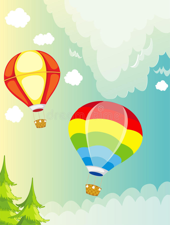 Landscape hot air balloon on sky vector illustration