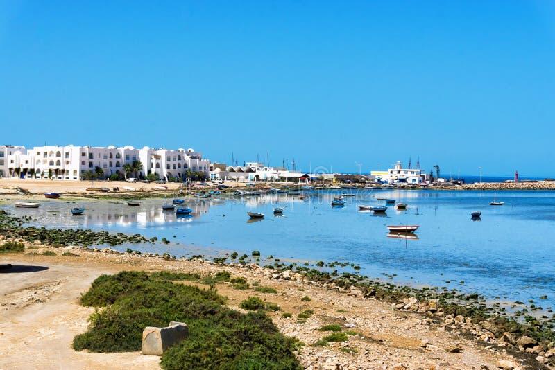 Landscape of Houmt El Souk in Djerba Beach in Tunisia. Djerba beach with Mediterranean sea view in Houmt El Souk, Tunisia stock photography