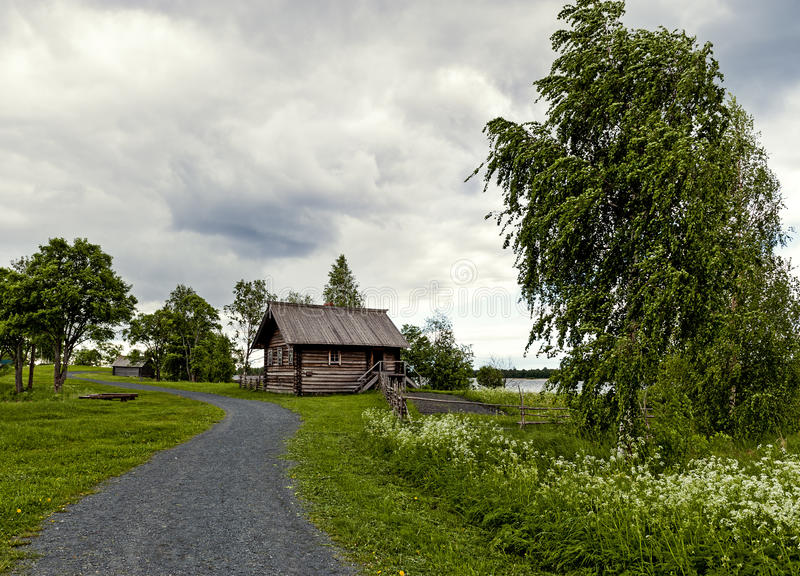 Landscape with a house on the island Museum complex of Kizhi royalty free stock photos