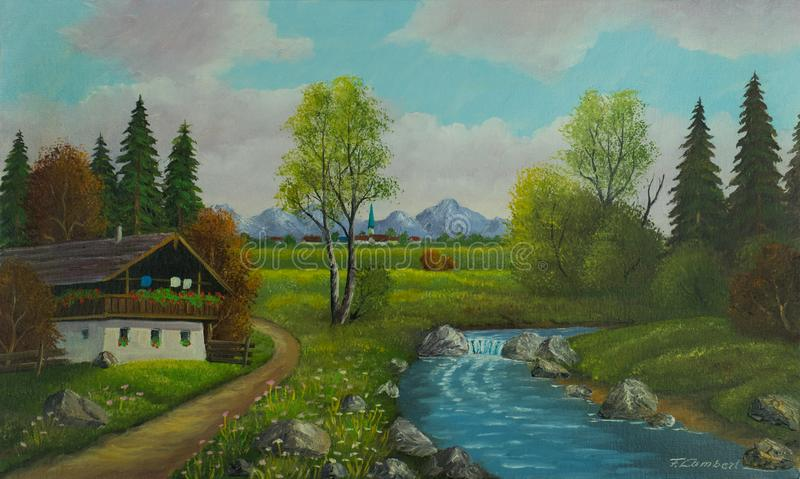 Landscape with house and river near a village. Oil painting - Landscape with house and river near a village stock photos