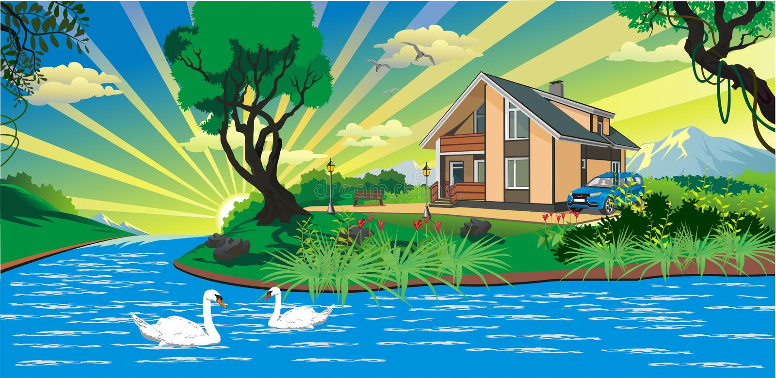Landscape - the house by the river with swans vector illustration