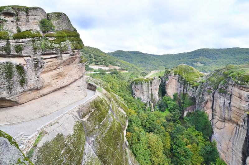 Landscape of the huge rocks Meteora Thessaly Greece royalty free stock photo