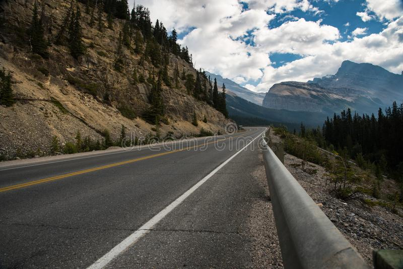 Landscape of the Icefields Parkway road, between Jasper and Banff - Canada royalty free stock photography