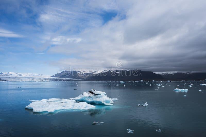 Iceberg in the glacial lagoon Jokulsarlon, Iceland. Landscape of Iceland, Europe. Iceberg in the glacial lagoon, located in the southeastern part of the island stock photos
