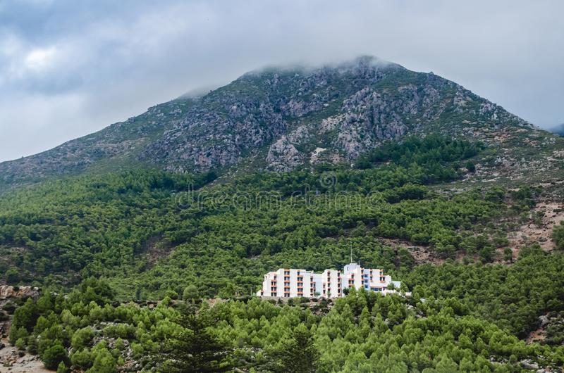 Landscape of the iconic mountain hotel. Of chefchaouen morocco royalty free stock photos