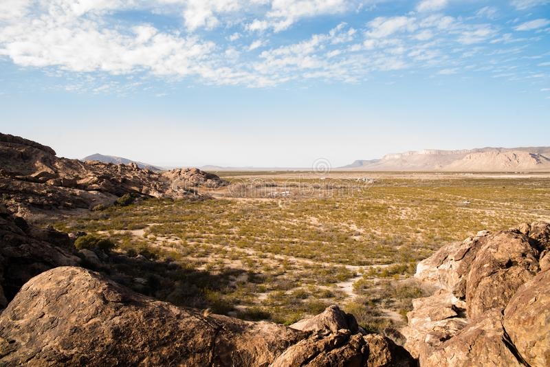 Desert, landscape view at Hueco Tanks in El Paso, Texas. Landscape image at Hueco Tanks State Park in El Paso, Texas stock images
