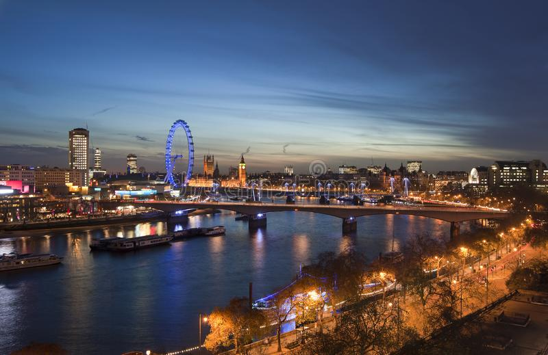 Download Beautiful Landscape Image Of The London Skyline At Night Looking Editorial Photography - Image of landmark, london: 111765092